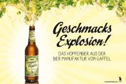 Bierfoto Produktfoto mit Tau. Sonnenhopfen der Gaffel Brauerei aus Köln