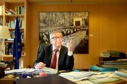 Interview Portrait Jean Claude Juncker, Präsident der Europäischen Union in seinem Büro in Brüssel.